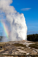 North side of Old Faithful Geyser with rainbow
